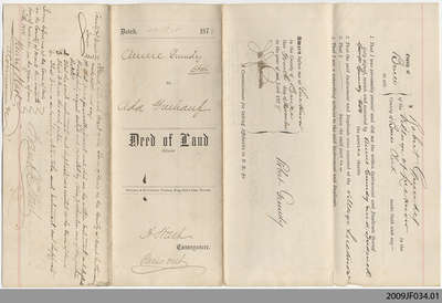 Deed of Land between Annie Grundy and Ada Freehauf, 1878