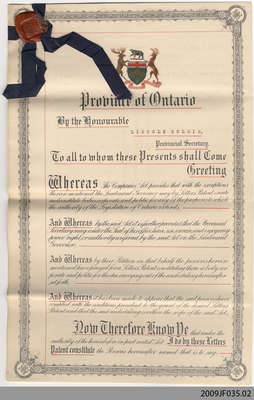 Letters Patent incorporating Sinclair's Hardware, Limited, 1929