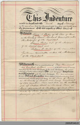 Mortgage Document between George F. Birley and William R. Baker, Paris, 1887