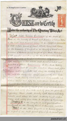 """1911 Certificate of Title for Nellie Louisa Cochrane, Burford, under """"Quieting Titles Act"""""""