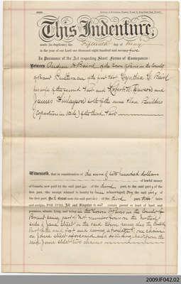 Land Indenture between Andrew H. Baird, and Robert W. Dawson & James Finlayson, Paris, 1875