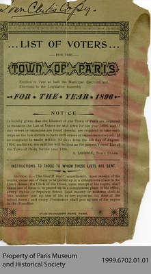 List of Voters for the Town of Paris for the Year 1896