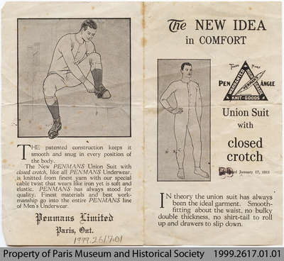 1911 pamphlet advertising Penmans Union Suit with Closed Crotch