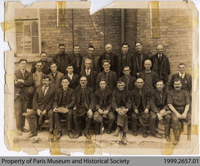 Penmans Machine Shop Staff outside Mill, c. late 1920s/early 1930s