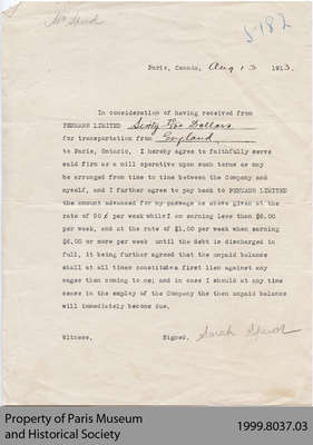 Penmans Immigration Fare Repayment Agreement for Sarah Speed, 1913