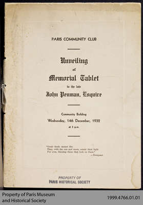 Program for the Unveiling of the John Penman Memorial Tablet, 1932