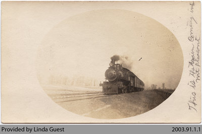 Train Coming In to Toronto, Hamilton & Buffalo Railroad Station in Mount Pleasant, c. 1904?