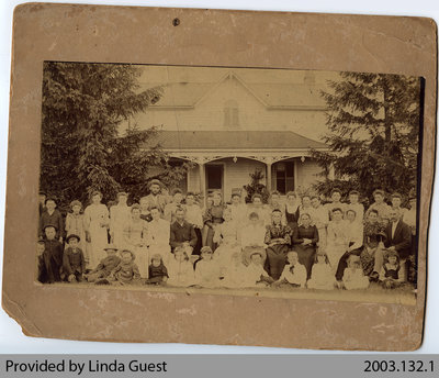 Unidentified Family outside Townsend House, Mount Pleasant