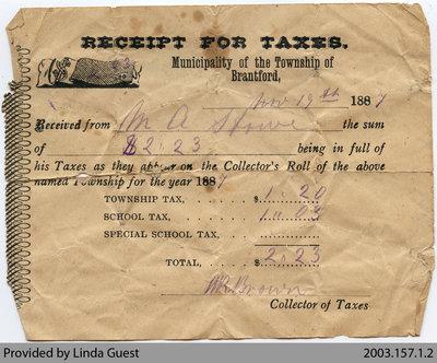 Township of Brantford Tax Receipt, 1887
