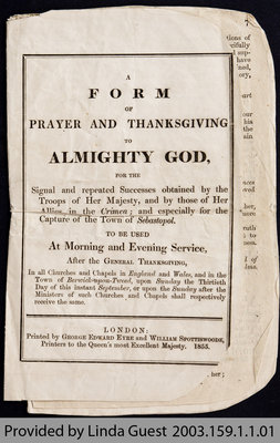 Form of Prayer for Crimean War, 1855