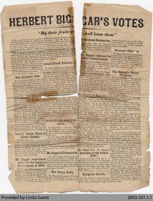 Herbert Biggar's Votes, c. 1857-58