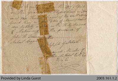 Marriage Certificate for Herbert Biggar and Jane Ellis, Mount Pleasant, 1831