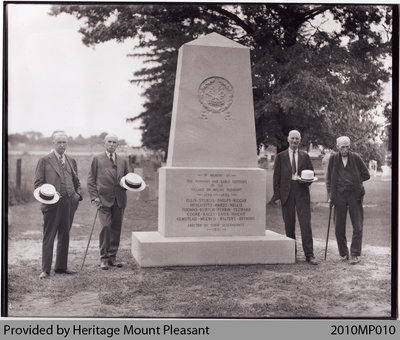 Descendants of Early Settlers of Mount Pleasant by Pioneer Cemetery Monument, 1931