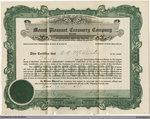 Mount Pleasant Creamery Company Stock Certificate, 1920