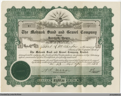 Mohawk Sand and Gravel Company Stock Certificate, 1923