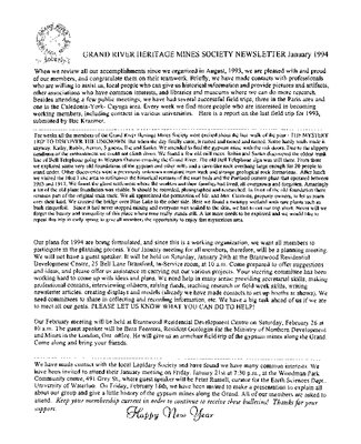 Grand River Heritage Mines Society Newsletter, January, 1994