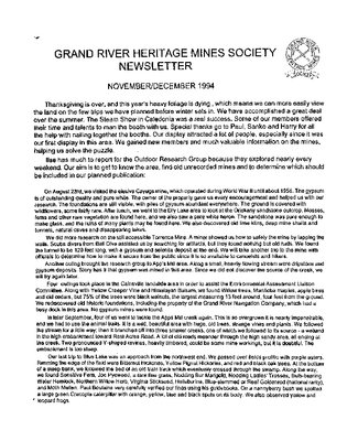 Grand River Heritage Mines Society Newsletter, November/December, 1994