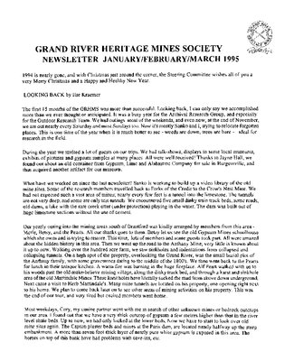 Grand River Heritage Mines Society Newsletter, January/February/March, 1995
