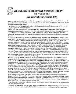 Grand River Heritage Mines Society Newsletter, January/February/March, 1996