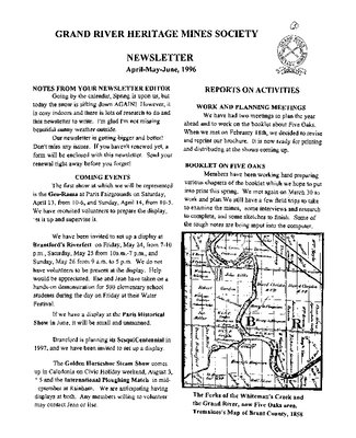 Grand River Heritage Mines Society Newsletter, April/May/June, 1996