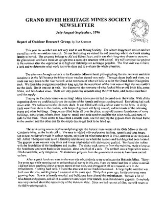 Grand River Heritage Mines Society Newsletter, July/August/September, 1996