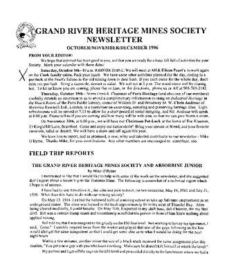 Grand River Heritage Mines Society Newsletter, October/November/December, 1996
