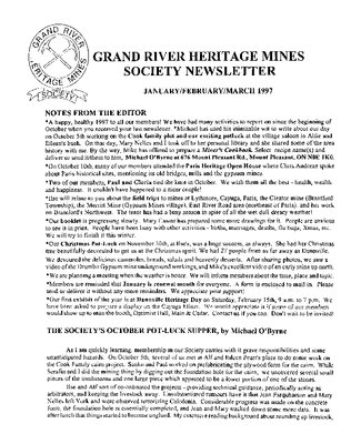 Grand River Heritage Mines Society Newsletter, January/February/March, 1997