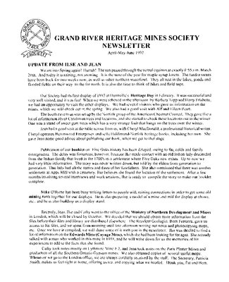 Grand River Heritage Mines Society Newsletter, April/May/June, 1997