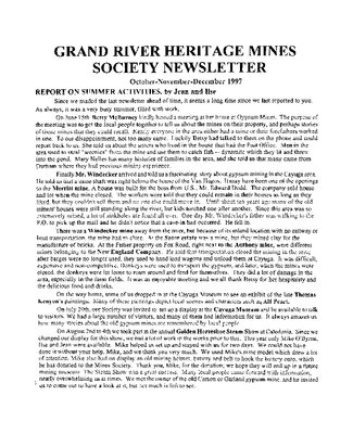 Grand River Heritage Mines Society Newsletter, October/November/December, 1997