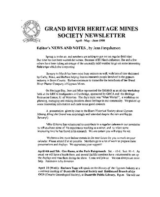 Grand River Heritage Mines Society Newsletter, April/May/June, 1998