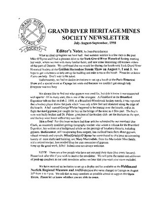 Grand River Heritage Mines Society Newsletter, July/August/September, 1998