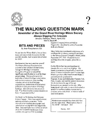 The Walking Question Mark, January/February/March/April, 2002