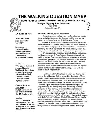 The Walking Question Mark, Fall 2002