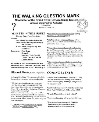 The Walking Question Mark, Winter 2003