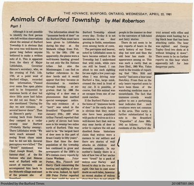 Animals of Burford Township by Mel Robertson, from the Burford Advance