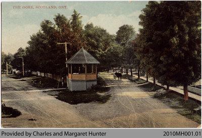 Postcard showing Talbot Street Bandshell, Scotland, Ontario