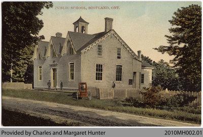 Postcard showing Old Scotland Public School, Scotland, Ontario