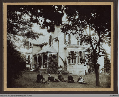 Samuel Gordon Hunter and family in front of Hawthorne Place, Scotland, Ontario