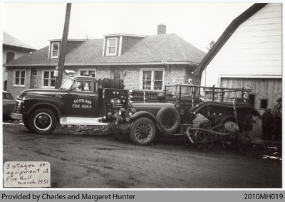 Three Eras of Scotland Fire Department Equipment, Scotland, Ontario, 1951