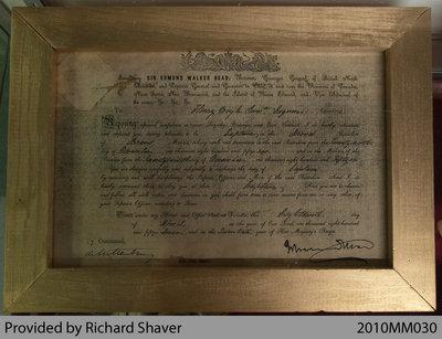 Certificate Gazetting Captain Henry Moyle, Captain of 2nd Brant Battalion, 1857