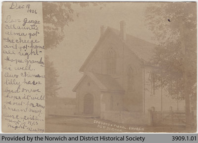 New Durham Congregational Church Postcard, 1906