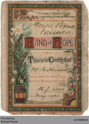 Down House Mission Temperance Pledge Certificate, 1901