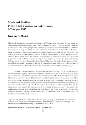 Myths and Realities: FDR's 1943 Vacation on Lake Huron, 1-7 August 1943