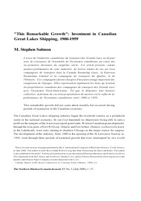 """""""This Remarkable Growth"""": Investment in Canadian Great Lakes Shipping, 1900-1959"""