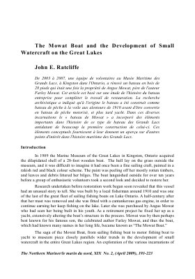 The Mowat Boat and the Development of Small Watercraft on the Great Lakes