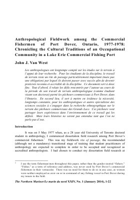 Anthropological Fieldwork among the Commercial Fishermen of Port Dover, Ontario, 1977-1978: Chronicling the Cultural Traditions of an Occupational Community in a Lake Erie Commercial Fishing Port