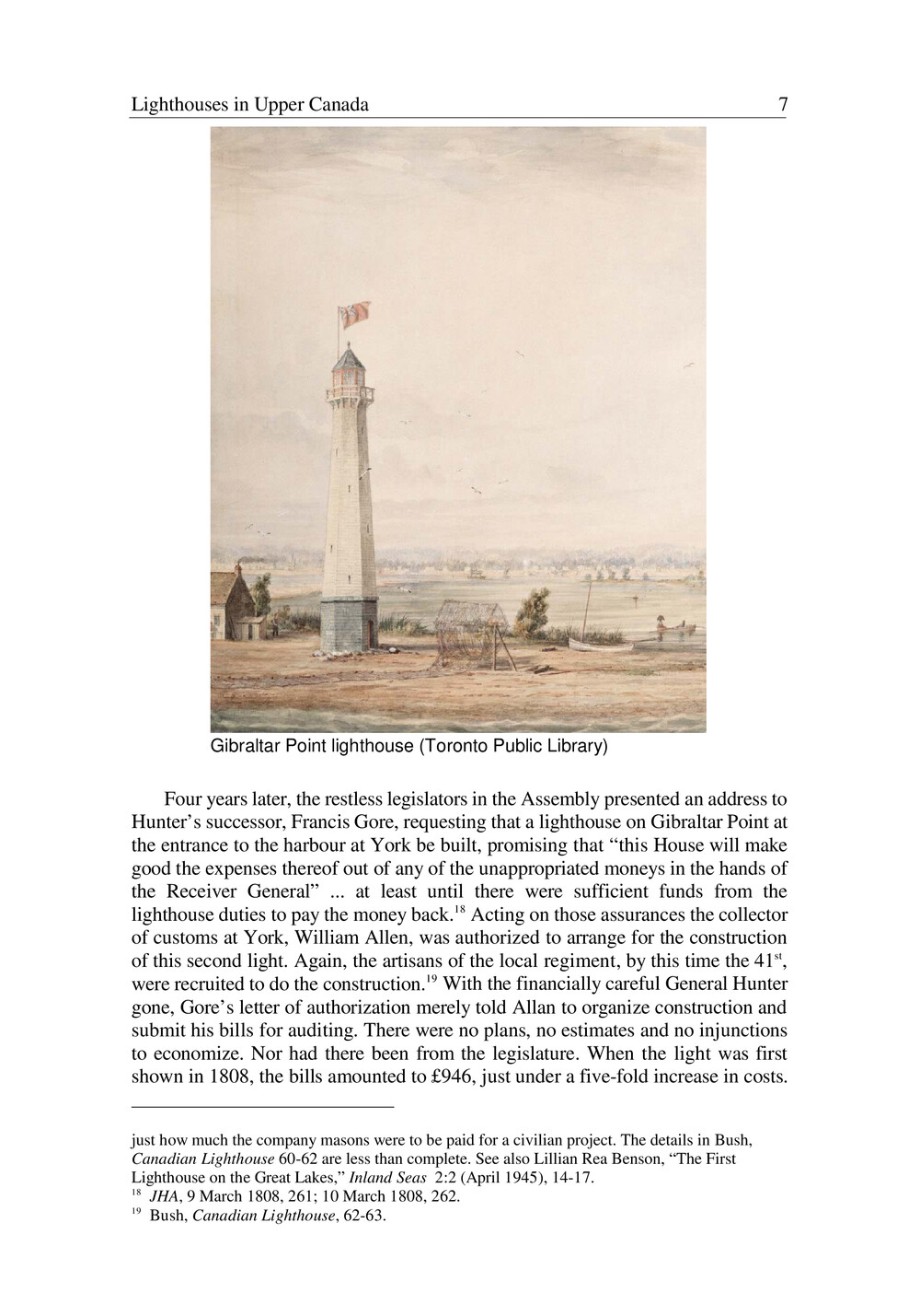 Lighthouses in Upper Canada, 1803 - 1840