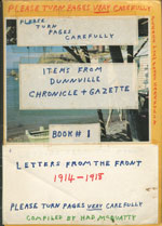 Items from Dunnville Chronicle + Gazette, Book 1. Letters from the front 1914 - 1918