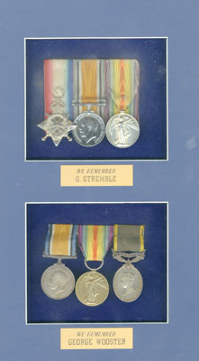 Framed medals of G. Stremble & George Wooster