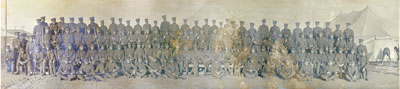 Panorama group photo of soldiers at camp